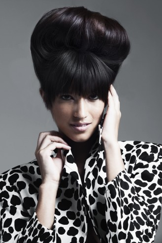 bouffant with precision blunt bangs fall winter 2012 hair salon buzz